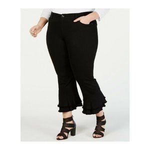 INC Womens Jeans Ankle Ruffle Ankle Hem Black Plus